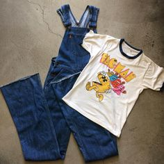 """70's Levi's orange tab big bell overalls, waist 30"""" inseam 37"""", $135+$16 domestic shipping. Vintage Pac-Man ringer t, size S measures 17"""" pit to pit and 25"""" collar to hem, $48+$8 shipping. Call 415-796-2398 to purchase or PayPal afterlifeboutique@gmail and reference item in post."""