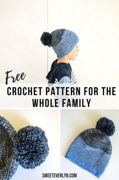 4139e82b02d A free crochet slouchy beanie pattern for the whole family. The PDF pattern  comes in