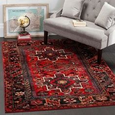 Safavieh Vintage Hamadan Collection Antiqued Oriental Red and Multi Area Rug x rugs, home decor Persian Motifs, Large Area Rugs, Traditional Area Rugs, Traditional Bedroom, Transitional Rugs, Red Rugs, Cool Rugs, Online Home Decor Stores, Online Shopping