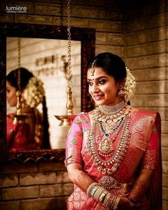 Real Brides Style-Get Inspired From Real Brides Shot by Wedding Company Kerala Bride, Hindu Bride, South Indian Bride, Bridal Silk Saree, Saree Wedding, Wedding Bride, Silk Sarees, Banaras Sarees, Tamil Wedding