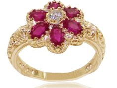 18k Yellow Gold Natural Ruby Womens Cluster Ring - Sizes 4 to 12 Available