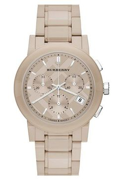 Burberry Check Stamped Chronograph Ceramic Bracelet Watch available at Trendy Watches, Cool Watches, Watches For Men, Fashion Catwalk, Burberry Watch, Silver Pocket Watch, Patek Philippe, Nordstrom, Audemars Piguet