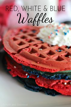 Celebrate Independence Day (or any summer day) with these red, white and blue of July Waffles! They're stuffed with fresh blueberries and strawberries for a delicious summer treat. Waffle Recipes, Brunch Recipes, Baking Recipes, Sweet Recipes, Breakfast Recipes, Dinner Recipes, Potato Recipes, Fish Recipes, Casserole Recipes