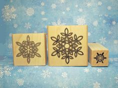 Crystal Knot Snowflakes Rubber Stamp Set of 3  Celtic by Triskelt