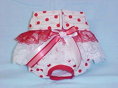Female Dog Diaper Panties Skirt Size XXSmall To Medium Red Polka Dots Fabric