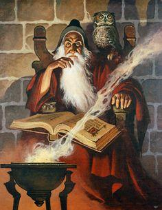 Art by Gino D'Achille: Merlin Fantasy Wizard, Fantasy Rpg, Medieval Fantasy, Fantasy Artwork, Fantasy World, Dark Fantasy, Character Portraits, Character Art, Arte Obscura