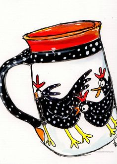 A fabulous Coffee mug provided by @silkep ... painting this was a joy ... Cuppa With Friends Project