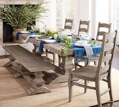 Need dining room inspiration? Shop Pottery Barn for stylish dining room ideas, furniture and decor. Create an elegant space perfect for entertaining friends and family. Extendable Dining Table, Dining Table Chairs, Table Bench, Room Chairs, Desk Chairs, Table Linens, Dining Area, Table Runners, Home Furniture