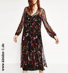 Besticktes Sommerkleid Blumenkleid in Schwarz