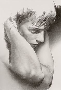 Javier Arizabalo, male portrait, pencil on paper drawing. javierarizabalo.com