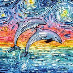 Dolphin Art Print - van Gogh Never Saw Paradise by Aja 8x8, 10x10, 12x12, 20x20, and 24x24 choose size tropical Caribbean rainbow artwork