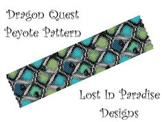 peyote pattern | Peyote Bracelet Pattern - Dragon Quest - Peyote Stitch Pattern (Buy ...