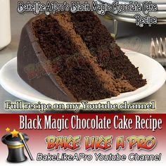 My Black Magic Chocolate Cake Recipe - click the link to see this video recipe… Magic Chocolate Cake, National Chocolate Cake Day, Chocolate Recipes, Chocolate Cupcakes, Fudge Recipes, Baking Recipes, Cake Recipes, Black Magic Chocolates, Chocolate Ganache Glaze