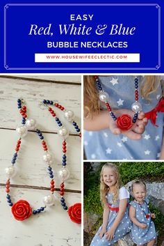 Housewife Eclectic: Easy Red, White and Blue Bubble Necklaces