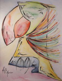 Rough Parrot, 2017. By Aeffe Moncco. afmoncco.com Parrot, Painting, Parrot Bird, Painting Art, Paintings, Painted Canvas, Drawings, Parrots
