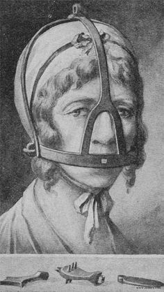 """Scold's bridle, sometimes called """"the branks"""", invented in 1500th in Britain and then spread to Europe. Branking (in Scotland and the North of England) was designed as a mirror punishment for """"shrews'""""or """"scolds"""" — women of the lower classes whose speech was """"riotous"""" or """"troublesome"""" — women accused of witchcraft — by preventing such """"gossips or scolds"""" from speaking."""