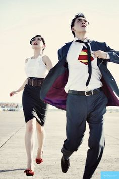 superman, couple, prenup, candid