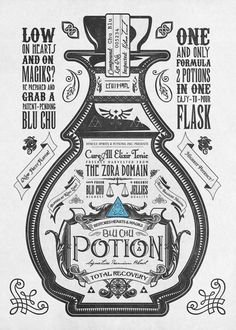 The Blue Potion third piece in my vintage Legend of Zelda inspired advertisements