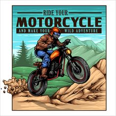 Descarga gratis vectores de Motorista de la vendimia biker jump on the mountain