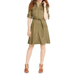 Lauren Ralph Lauren Military Zip-Front Shirtdress ($90) ❤ liked on Polyvore featuring dresses, olive marsh, front zipper dress, military dress, long shirt dress, army green dress and zip front dress