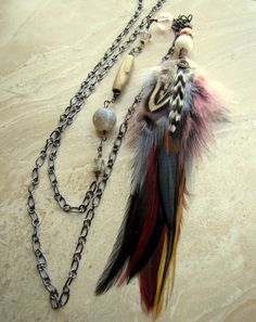 Long Feather Necklace - Colorful Rooster Feather Necklace, Long Beaded Chain Necklace - Tribal Necklace US$26