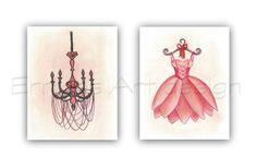 French Nursery Art, SET 2 Prints, Ballet, Ballerina Dress Wall Art, Chandelier, Girls room decor, Baby girl nursery, French nursery decor