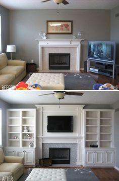 5 Aligned Clever Hacks: Living Room Remodel With Fireplace Products small living room remodel benjamin moore.Livingroom Remodel Beautiful small living room remodel with fireplace.Living Room Remodel Before And After Awesome. Tv Over Fireplace, Fireplace Built Ins, Living Room With Fireplace, Fireplace Design, Living Room Decor, Fireplace Ideas, Small Fireplace, Faux Fireplace, Fireplace Makeovers