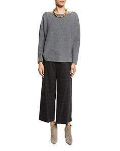 -6X7U Eileen Fisher  Seamless Cashmere Boat-Neck Sweater Fisher Project Plaid Wide-Leg Cropped Pants