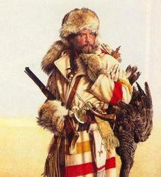 Mountain Man by Michael Gnatek. Canadian History, American History, American Women, Rocky Mountains, Westerns, Le Castor, Mountain Man Rendezvous, Hudson Bay Blanket, Creation Photo