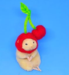 Taxidermy Hamster in a Cherry Hat Taxidermy, Cherry, Christmas Ornaments, Holiday Decor, Unique Jewelry, Hats, Handmade Gifts, Vintage, Kid Craft Gifts