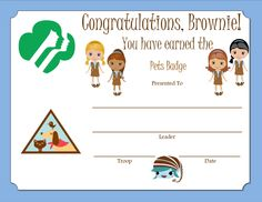 Brownie Pets Badge Certificate