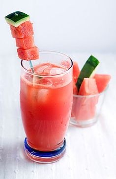 Sandia Fresca Margarita   Ingredients:  1 1/2 parts Tres Agaves Blanco Tequila  1/4 part Cointreau  2 parts fresh-pressed watermelon juice (or 1 oz. of bottled puree juice)  1/2 part fresh-squeezed lime juice  1/2 part ginger syrup*  *In a medium saucepan, combine 1/2 pound fresh ginger and 1/2 liter Tres Agave Nectar over medium-high heat. Bring the mixture to a very light boil, stirring occasionally. Strain and allow to cool for 25 minutes.