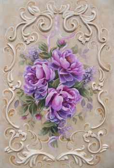 Peonies by Jonny Petros with exquisite, decorative strokework border.