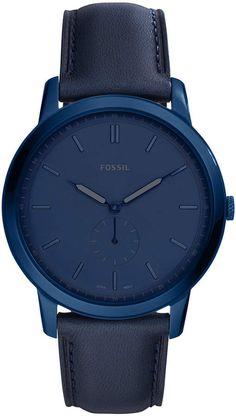 910762a47718 Fossil Men s Minimalist Blue Leather Strap Watch 44mm Uñas Azules