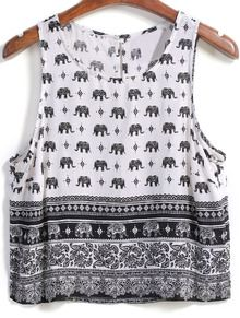 Elephant Print Crop Tank Top US$12.50