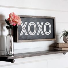 """XOXO Sign, Valentines Day Wood Sign, Farmhouse Sign, Hugs and Kisses, Modern Farmhouse Decor, Rustic Home Decor, 21.5"""" x 9.5"""" by HandmadeMercantileCo on Etsy https://www.etsy.com/listing/489793776/xoxo-sign-valentines-day-wood-sign"""