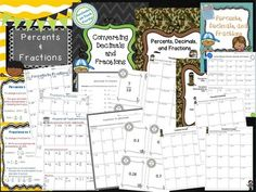 In this Fractions, Decimals, and Percents Bundle, you will receive 4 total products.  Included in this bundle are the following concepts:*10 no prep student printables *Decimals to percents*Percents to decimals*Percent of a number*Fractions to percents*Percents to fractions*Colorful classroom signs The concepts in this bundle are appropriate for 5th and 6th grade math students.