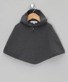 Grey Poncho with Hood - Infant by Marie Puce