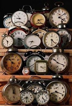 ∷ Variations on a Theme ∷ Collection of old alarm clocks