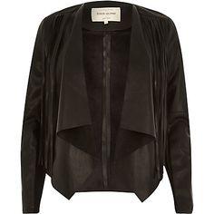 Black leather-look fringed fallaway jacket £65.00