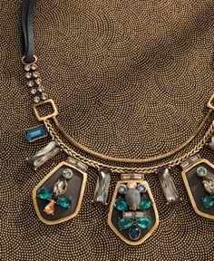 NEW K & R Blue Streak Necklace: #Swarovski crystal, brass and leather accents www.mysilpada.ca/cheryl.andreoli