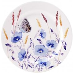Azur by Gien Pottery Painting, Ceramic Painting, Flax Flowers, Natural Bouquet, Butterfly Illustration, Baccarat Crystal, Do It Yourself Crafts, Pottery Sculpture, China Painting