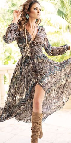 Love! Fun, Feminine and Free flowing! maxi sexy flowing dress - missoni? stripes and boots and long gold necklace