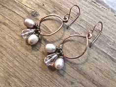 Sweet little hammered copper earrings, featuring delicate blush color freshwater pearls and lovely faceted pink quartz, wire worked and dangling from hand forged copper ear wires. Earthy and rustic, boho chic jewelry.
