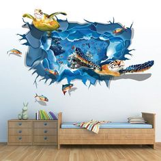 Amaonm Removable Creative 3D Dolphin Swiming in The Deep Blue Sea Ocean Wall Decals Stickers Girls Nursery Room Walls Decorations Art Decor Home Decal Classroom Bathroom Stickers for Kids Baby Boys
