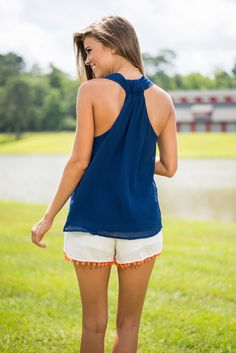 Free To Flare Tank, Navy - The Mint Julep Boutique