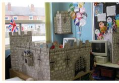 Castle project for school role play area - mural on card