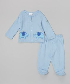 Another great find on #zulily! Blue Elephant Swing Top & Footie Pants - Infant by kathy ireland #zulilyfinds