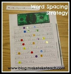 Strategy for Teaching Students to Space Between Words- pinned by @PediaStaff – Please Visit ht.ly/63sNtfor all our pediatric therapy pins