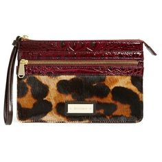 Brahmin'Winnie' Genuine Calf Hair & Leather Wristlet (2,610 MXN) ❤ liked on Polyvore featuring bags, handbags, clutches and wine granada